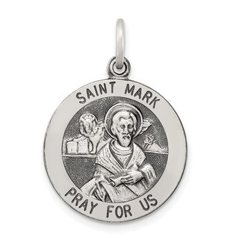 Sterling Silver Antiqued Saint Mark Medal