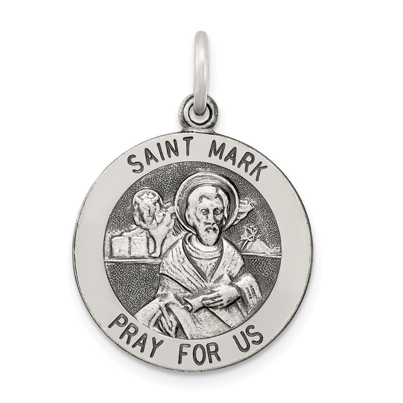 Quality Gold Sterling Silver Antiqued Saint Mark Medal