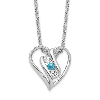 Sterling Silver Survivor Clear & Blue Swarovski Topaz Heart Support Necklac
