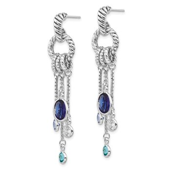 Sterling Silver Rhodium-plated Antiqued Blue CZ Dangle Post Earrings