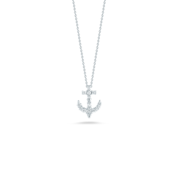 18Kt Gold Anchor Pendant With Diamonds