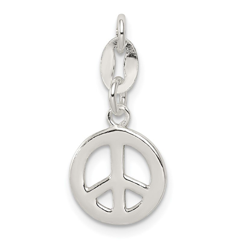 Quality Gold Sterling Silver Polished Peace Charm