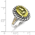 Shey Couture Sterling Silver w/14k Antiqued Lemon Quartz Ring