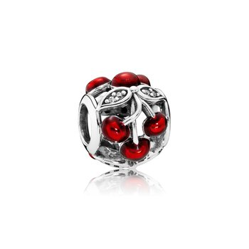 Sweet Cherries, Glossy Red Enamel & Clear CZ