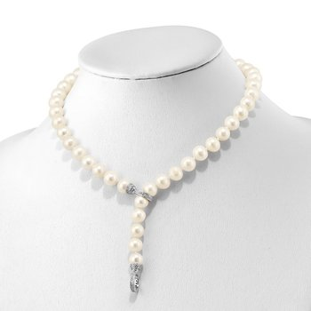 Sterling Silver RH 9-10mm White FWC Pearl CZ Clasp Adjust. Necklace