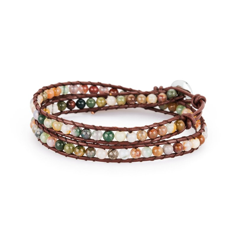 Brosway Bracelet. Brown leather, 316L steel closure and Indian jade natural stones