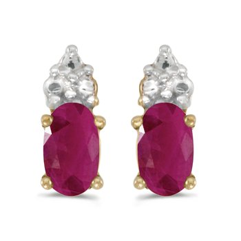 10k Yellow Gold Oval Ruby Earrings