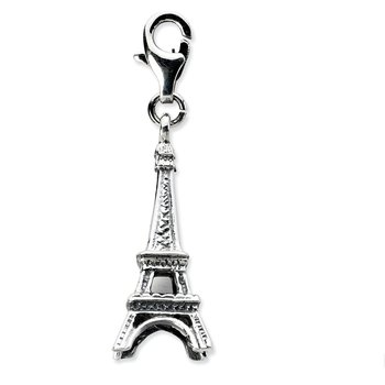 Sterling Silver Amore La Vita Rhodium-pl 3-D Antiqued Eiffel Tower Charm