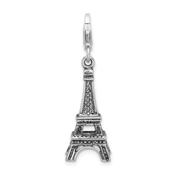 Sterling Silver 3-D Antiqued Effiel Tower w/Lobster Clasp Charm