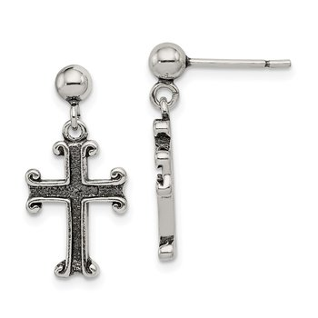 Sterling Silver Antiqued Cross Post Earrings