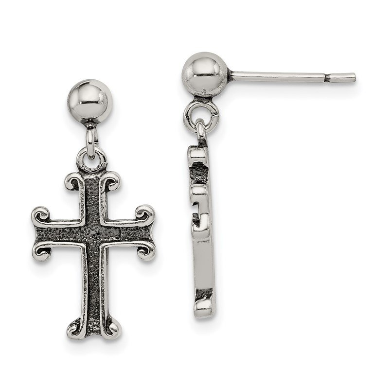 JC Sipe Essentials Sterling Silver Antiqued Cross Post Earrings