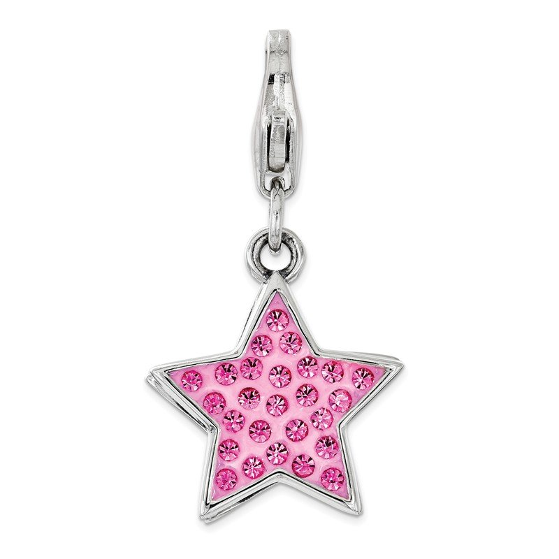 Quality Gold Sterling Silver Pink Swarovski Star with Lobster Clasp Charm