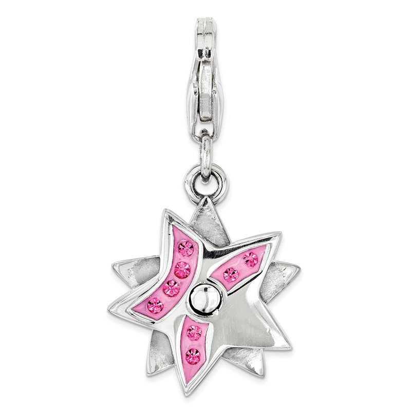 Lester Martin Online Collection Sterling Silver Amore La Vita Rhodium-plated Pink Swarovski Star Charm