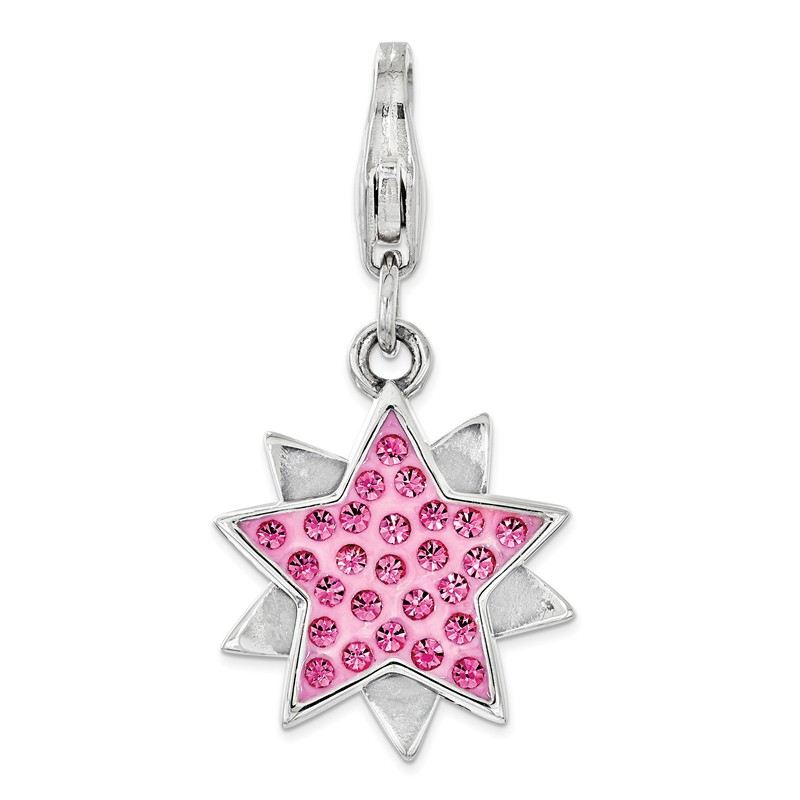 17mm x 40mm Solid 925 Sterling Silver 3-D Enameled Baby Carriage with Lobster Clasp Pendant Charm