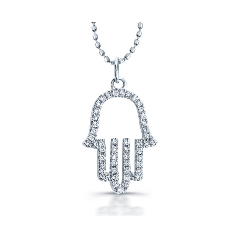 Robert Palma Designs White Gold Piety Open Hamsa Pendant