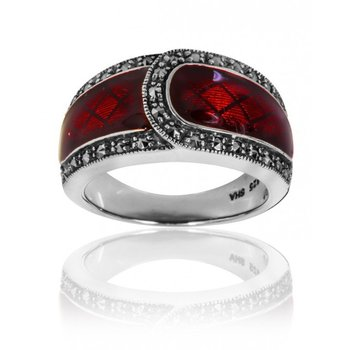 Red Enamel Belt Ring