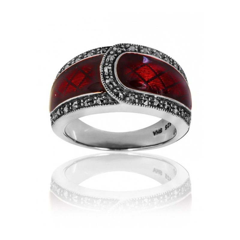 LARUS Jewelry Red Enamel Belt Ring