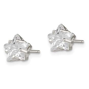 Sterling Silver 7mm Star Basket Set CZ Stud Earrings