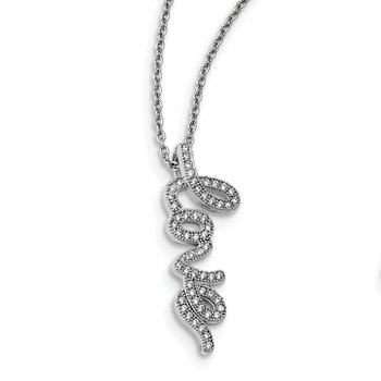 SS Rhodium-Plated CZ Brilliant Embers Polished Love Necklace