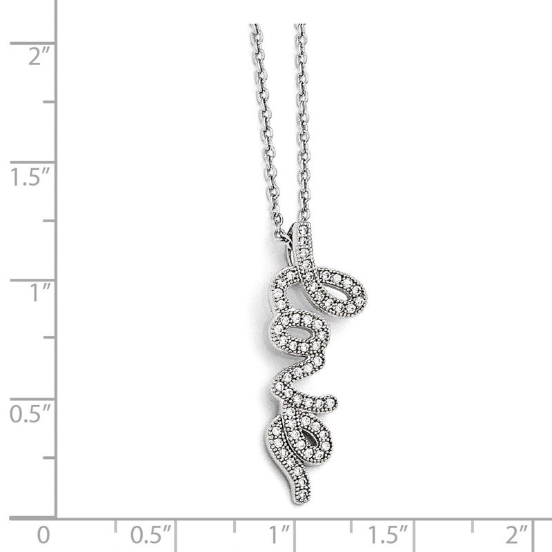Quality Gold SS Rhodium-Plated CZ Brilliant Embers Polished Love Necklace