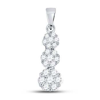 14kt White Gold Womens Round Diamond Triple Flower Cluster Pendant 3/4 Cttw