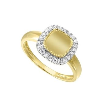 Diamond Medallion Cushion Signet Ring in 14k Yellow Gold (1/5ctw)