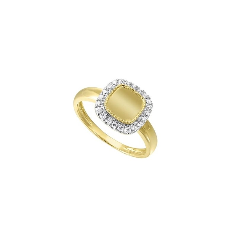 Gems One Diamond Medallion Cushion Signet Ring in 14k Yellow Gold (1/5ctw)