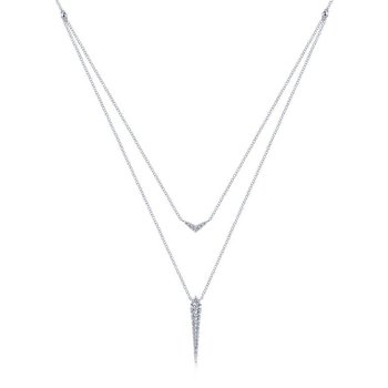 14K White Gold Delicate Layered Pavé Diamond Pendant Necklace