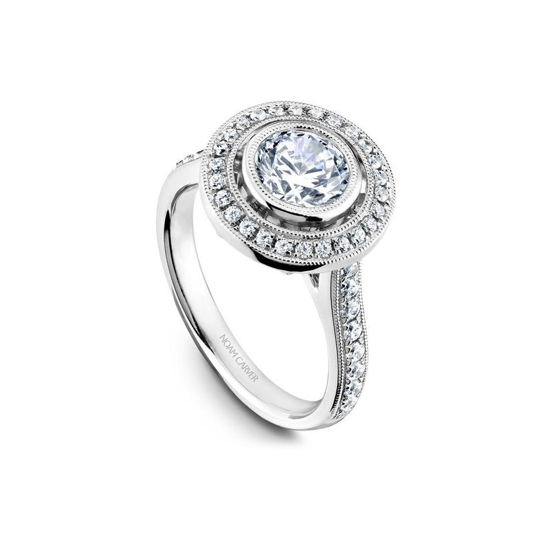 Noam Carver Bezel Set Halo Engagement Ring