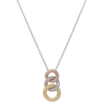 Diamond 3 Circle Tri Color Pendant with Chain