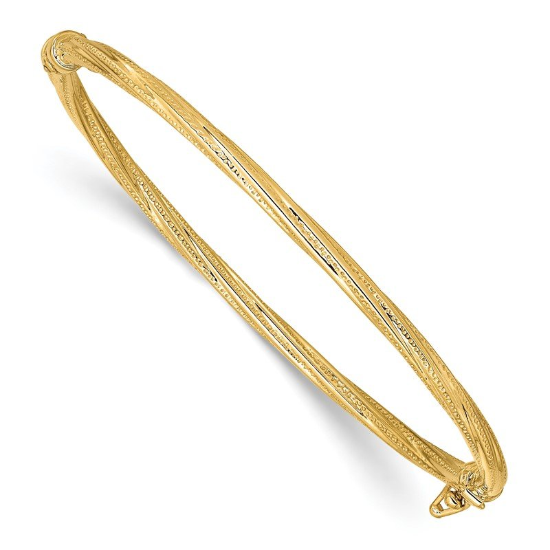 Quality Gold 14k Polished Textured Twisted Hinged Bangle