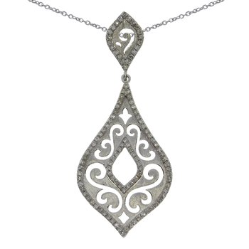 14K White Gold Brushed Diamond  Fashion Pendant
