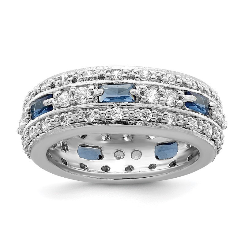 Quality Gold Sterling Silver Dark Blue & Clear CZ Band
