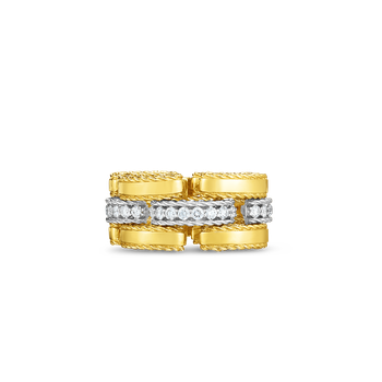 #28381 Of 18Kt Gold Retro Link Ring With Diamonds