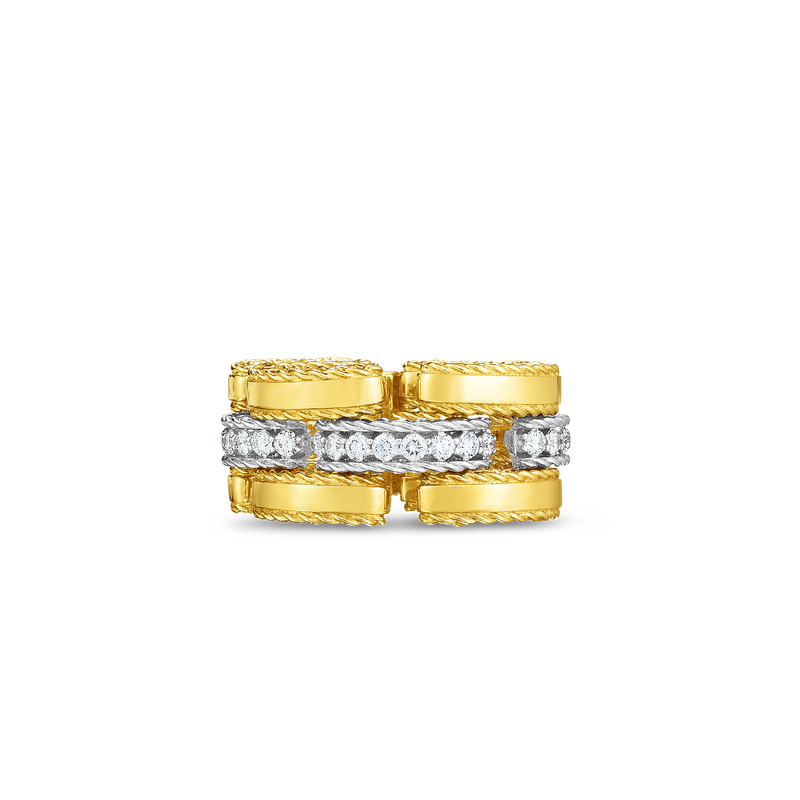 Roberto Coin  #28381 Of 18Kt Gold Retro Link Ring With Diamonds