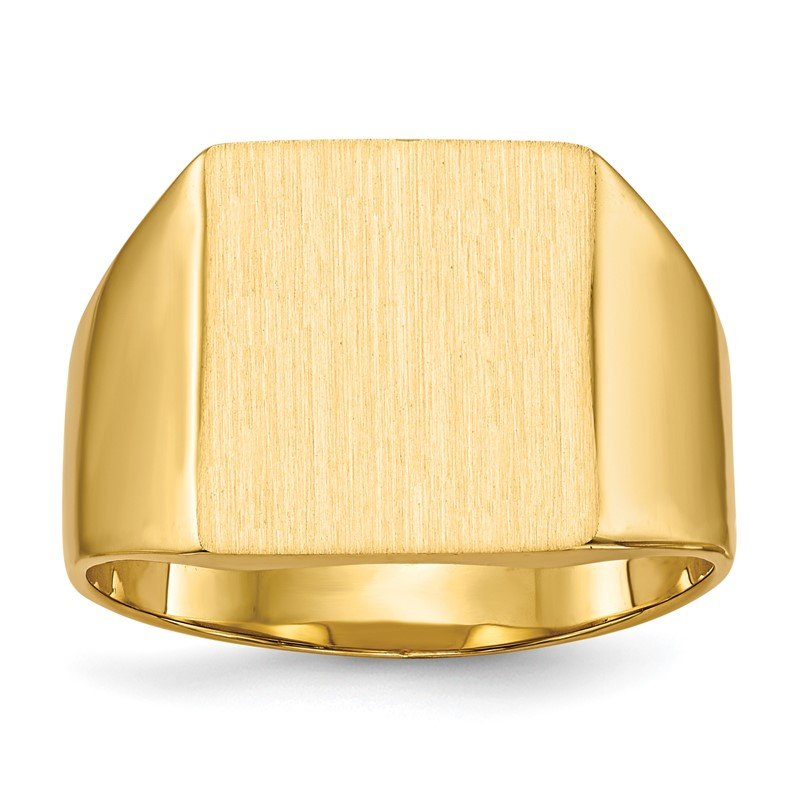 Quality Gold 14k 13.0x12.0mm Closed Back Mens Signet Ring