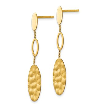 Leslie's 14K Polished Brushed and Textured Post Dangle Earrings