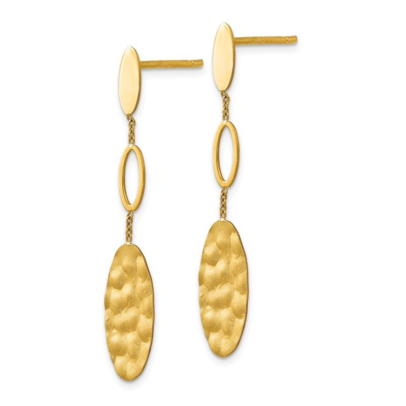 Leslie's Leslie's 14K Polished Brushed and Textured Post Dangle Earrings