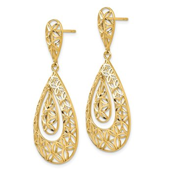 14k Gold Polished D/C Teardrop Dangle Post Earrings