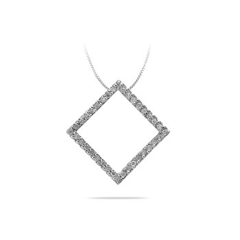 14K WG Diamond Fashion Square Shape Pendant