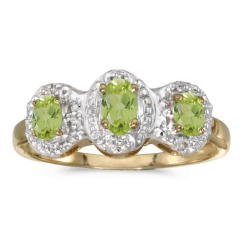 10k Yellow Gold Oval Peridot And Diamond Three Stone Ring