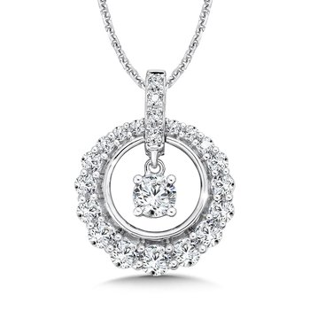 Round Diamond Pendant with Diamond Bale in 14K White Gold (1/3ct. tw.)