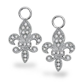 Diamond Fleur De Lis Earring Charms in 14K White Gold with 40 Diamonds Weighing  .20ct tw