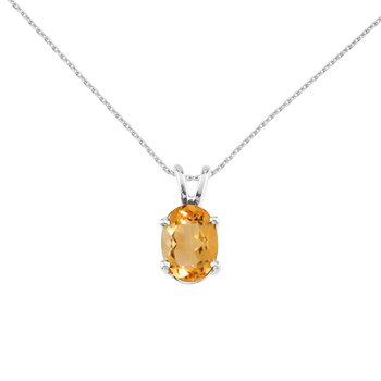 14k White Gold Oval Citrine Pendant