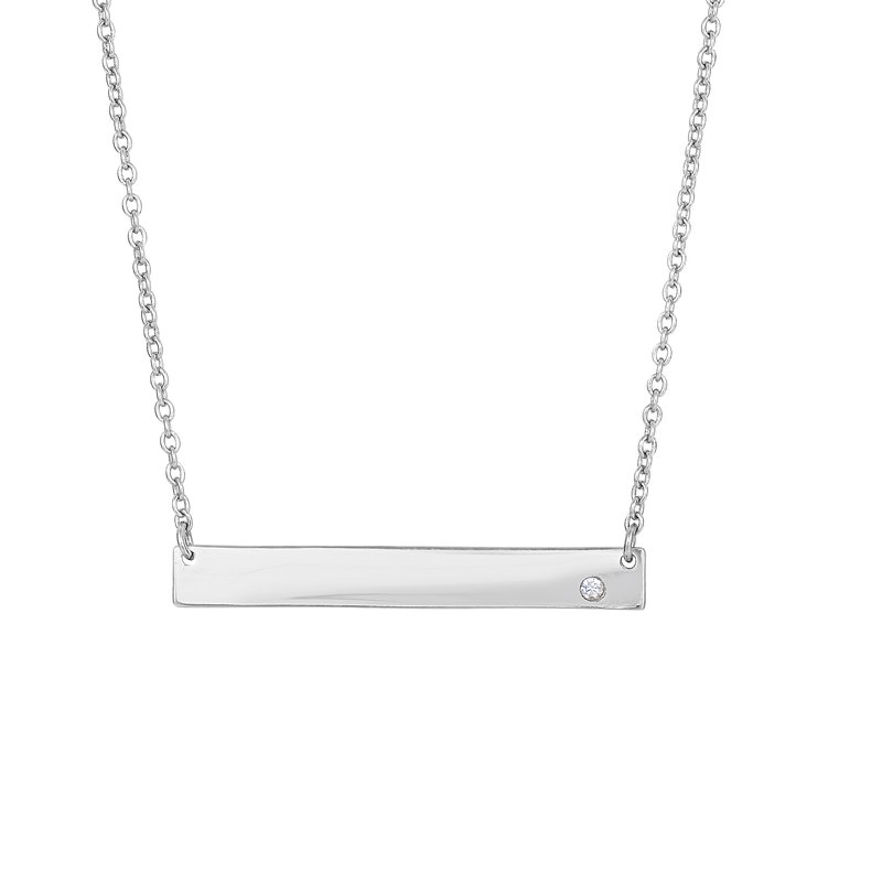 Royal Chain Silver ID Bar with CZ Accent Necklace