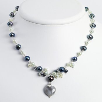 Sterling Silver Botswana Agate/FW Cultured Peacock & Lt.Blue Pearl Neck