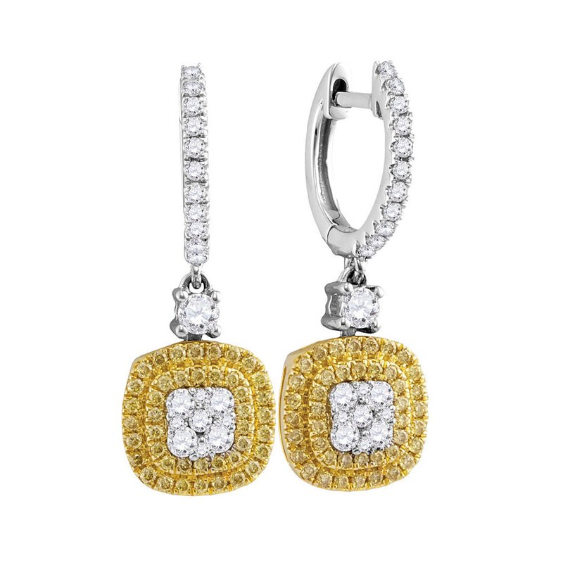 Gold-N-Diamonds, Inc. (Atlanta) 18kt White Gold Womens Round Yellow Diamond Square Cluster Dangle Earrings 7/8 Cttw