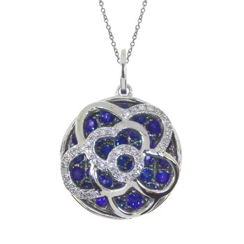 14k White Gold Floating Sapphire Round Pendant
