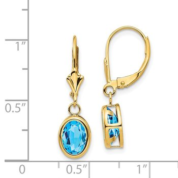 14k 8x6mm Oval Blue Topaz Leverback Earrings