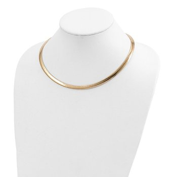 14k 6mm Reversible White & Yellow Domed Omega Necklace
